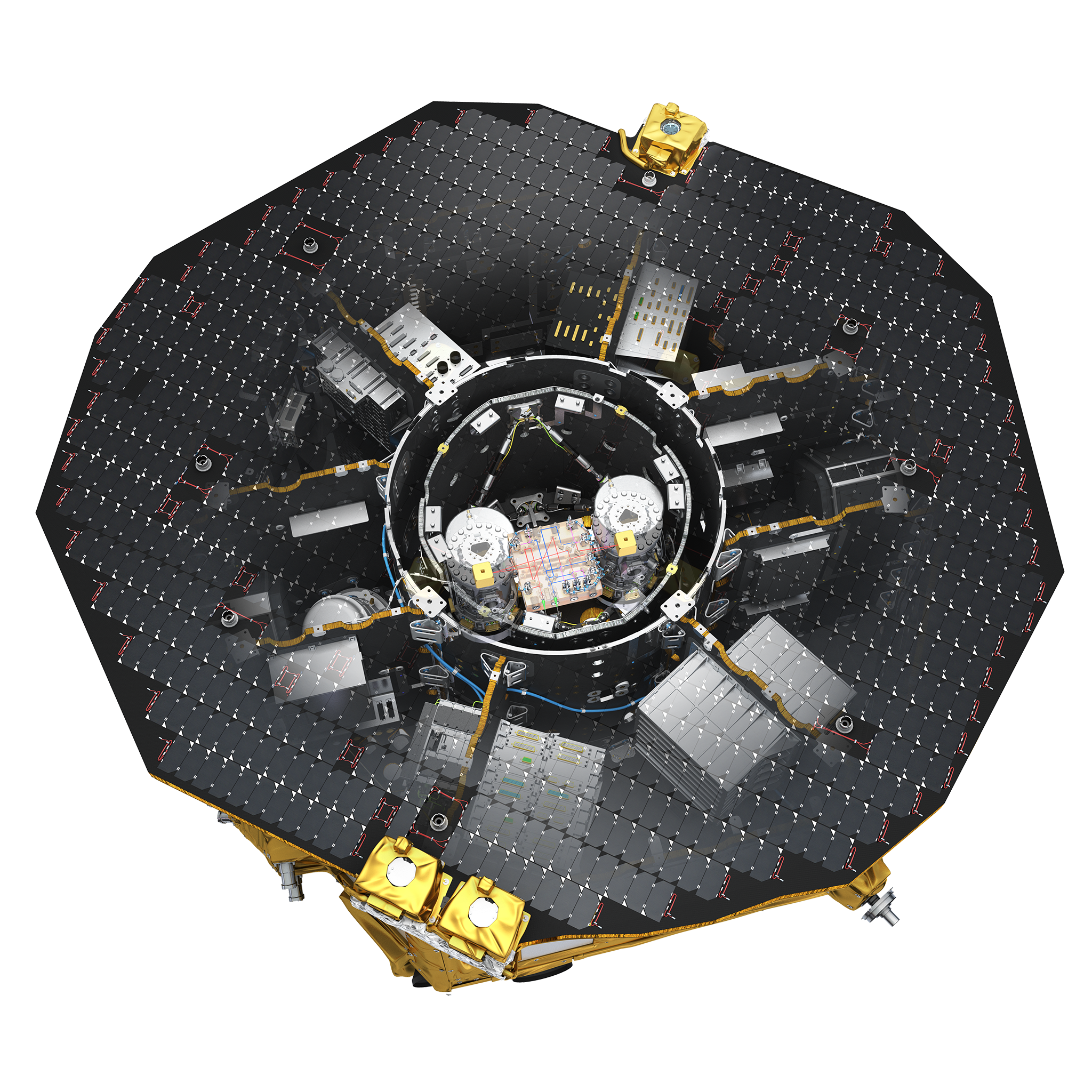 This artist's impression shows the interior layout of LISA Pathfinder's science module. The central circle is a cylindrical capsule that contains many of the spacecraft's key payload components — a vacuum enclosure that houses two test masses in their electrode casings, and the optical bench interferometer between them. Scientists will use this interferometer to monitor and measure the masses as they move in a near-perfect gravitational free-fall.