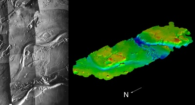 Viking image of Kasei Vallis (left), the largest outflow channel on Mars, and a digital terrain model (right) derived from Viking stereo images.