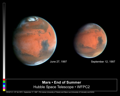 Hubble Space telescope images showing changes in the Martian atmosphere.