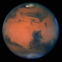 Mars viewed from the Hubble Space telescope.
