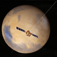 Mars Express in orbit around Mars with MARSIS antenna unfurled.