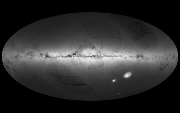 Una imagen de todo el cielo de estrellas de nuestra Galaxia (la Vía Láctea) y las galaxias vecinas, basado en el primer año de observaciones del satélite Gaia de ESA, de julio de 2014 a septiembre de 2015. Crédito: ESA/Gaia/DPAC