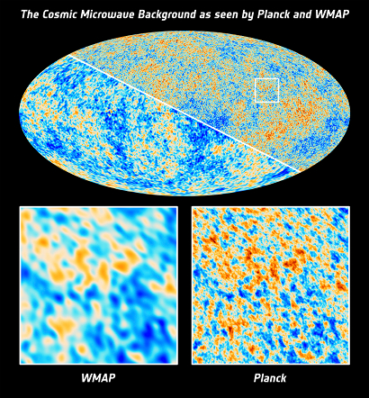 Comparison of the variations detected by Planck and WMAP (Photo credit: ESA)