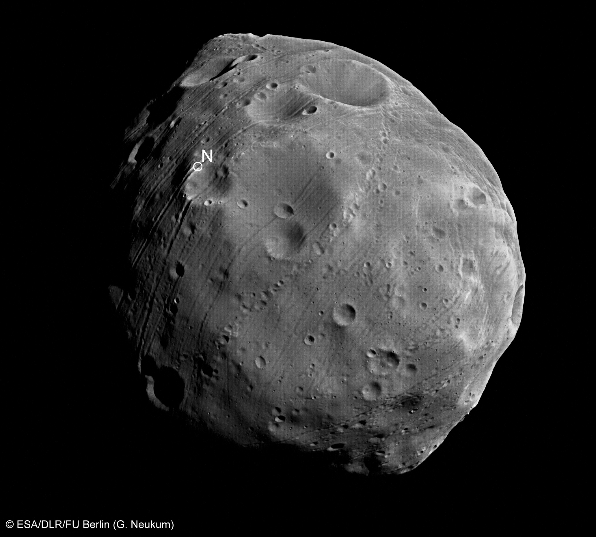 ESA Science & Technology: Close-up of Phobos, acquired on ...