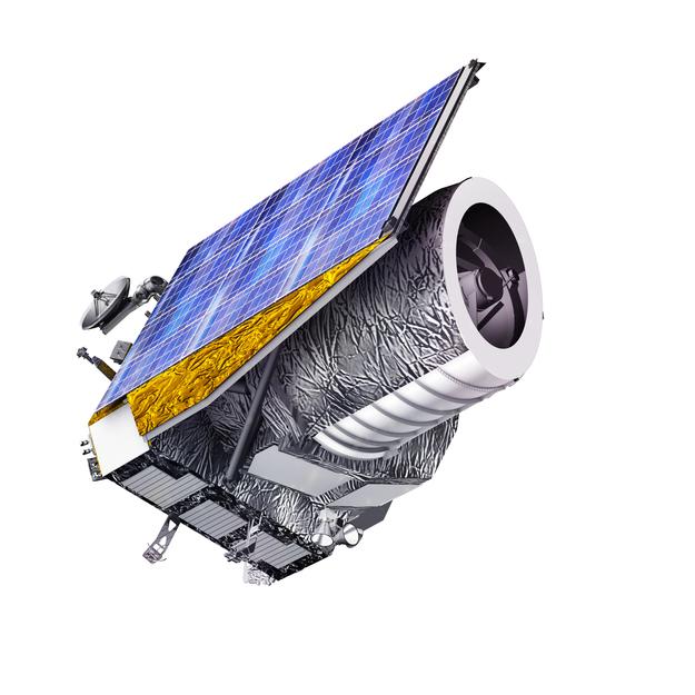 A representação artística retratando a nave espacial Euclid da ESA. Crédito: ESA/C. Carreau