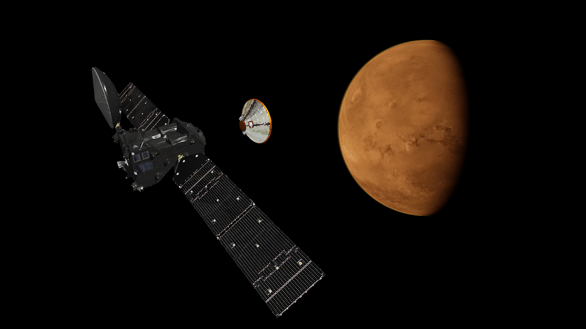Artist's impression depicting the separation of the ExoMars 2016 entry, descent and landing demonstrator module, named Schiaparelli, from the Trace Gas Orbiter, and heading for Mars. Copyright: ESA/ATG medialab