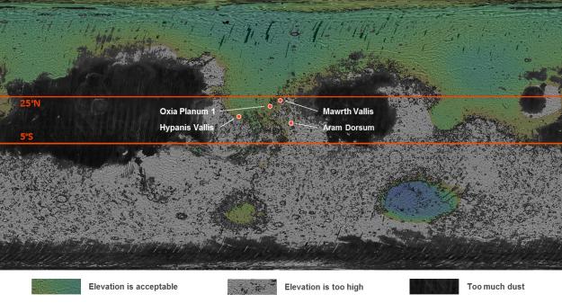 Vier mogelijke landingsplaatsen worden overwogen voor de ExoMars 2018