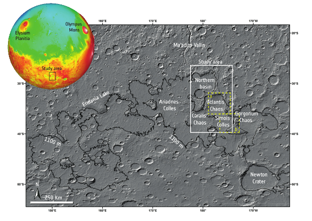 This image, put together from images produced by the Mars Orbiter Laser Altimeter (MOLA) on NASA's Mars Global Surveyor (MGS), shows the region of Mars known as the Terra Sirenum and Terra Cimmeria regions. This region, peppered with basins that once held one of Mars' largest lakes, was the subject of a study published in the Journal of Geophysical Research which aimed to better understand past environmental conditions in the region.