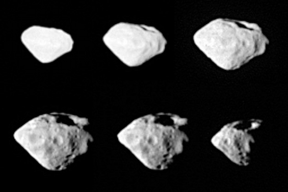 Images of asteroid (2867) Steins taken by the OSIRIS Wide Angle Camera on  Rosetta during the fly-by of 5 September 2008. Credit: ESA ©2008 MPS for  OSIRIS ...