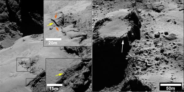 Revner på overfladen af komet 67P