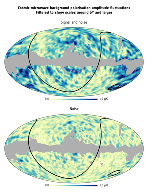La polarizzazione CMB su grandi scale angolari.Credito: ESA / Planck Collaboration