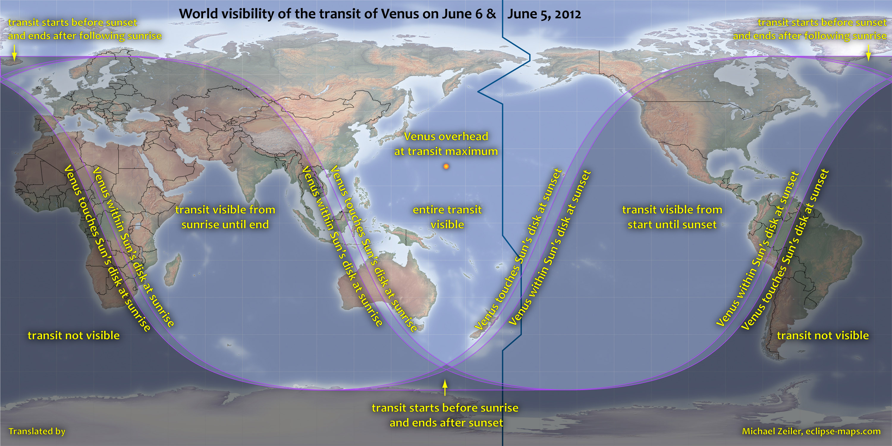 ESA Science & Technology: Venus transit visibility map on wisconsin voting map, wisconsin election map, olympics map, eclipse map, nasa map, mars map, astronomy map,