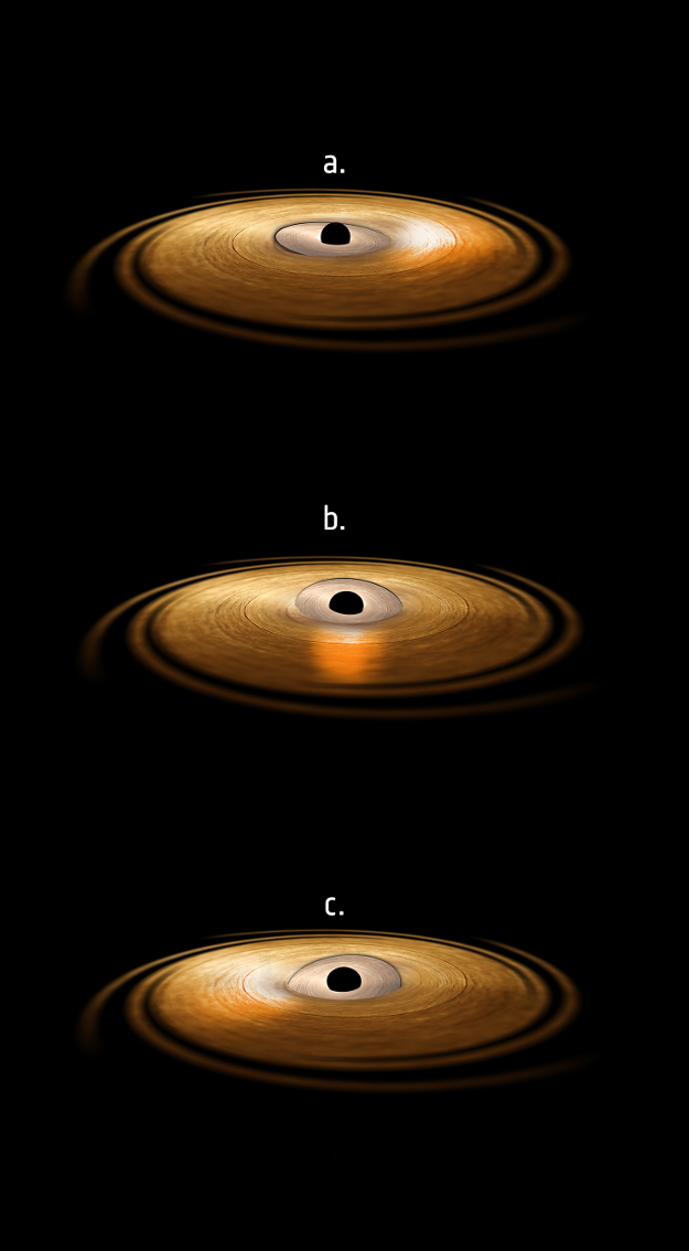 This artist's impression depicts the accretion disc surrounding a black hole, in which the inner region of the disc precesses. In these three views, the precessing inner disc shines high energy radiation that strikes the matter in the surrounding accretion disc, causing the iron atoms in that disc to emit in X-rays, depicted as the glow on the accretion disc to the right (in view a), to the front (in view b) and to the left (in view c).