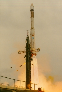 The launch of Giotto 2nd April 1985 at 11:23 UT.