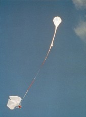 Launch of test model and balloon.