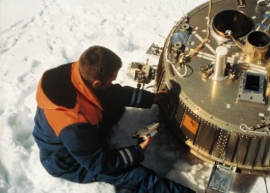 Huygens descent module after landing at Kiruna.